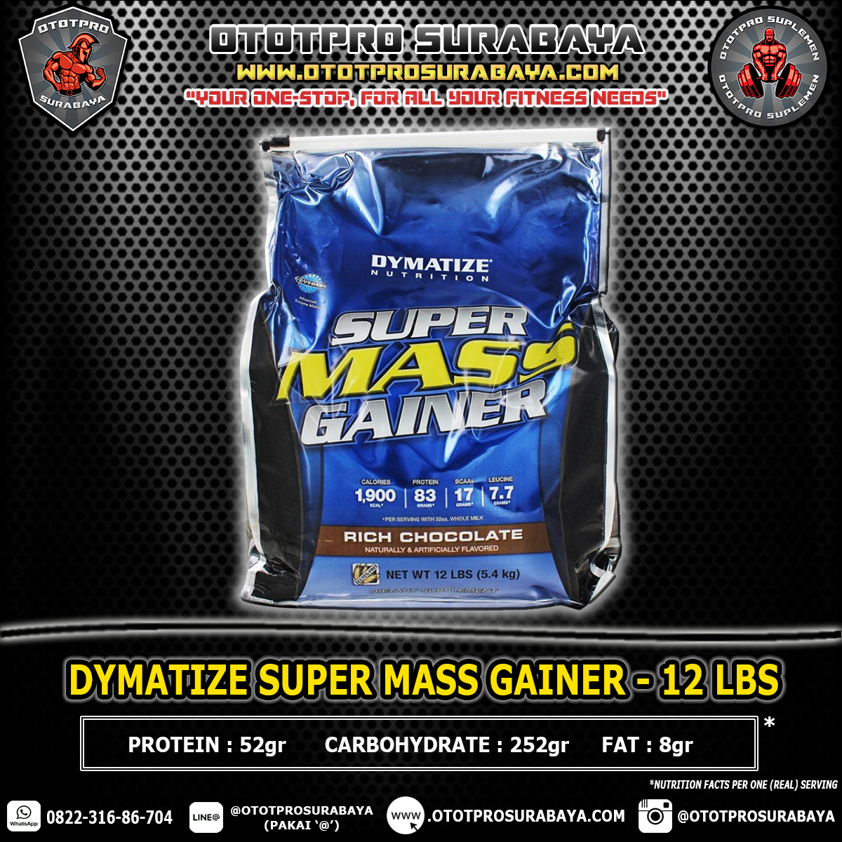 Suplemen Fitness Full Pack Penuh Mass Gainer Dymatize Super Supermass 12lbsb 12lbs